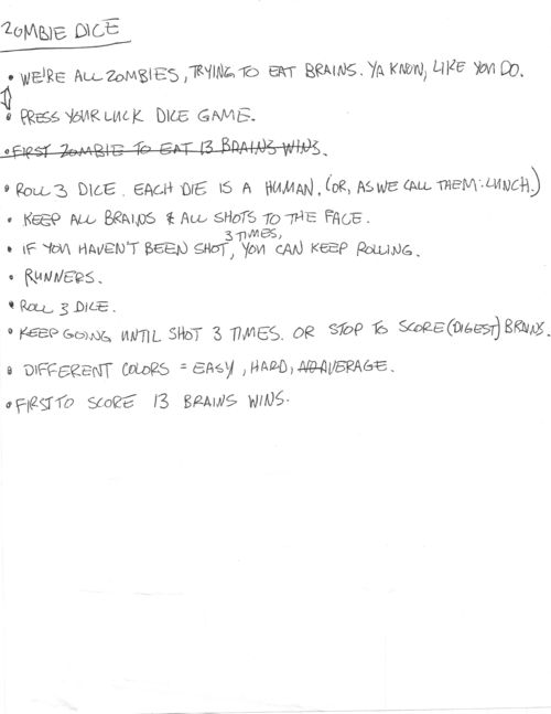 Wil Wheaton Handwritten Tabletop Rule Notes