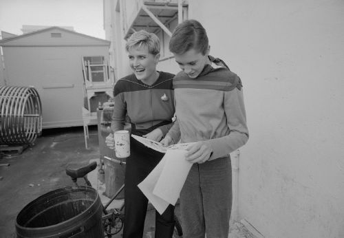 Wil Wheaton and Denise Crosby on set at TNG